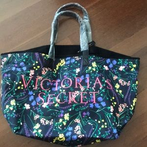 Victoria Secret large floral black bag